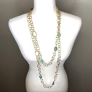 New! Gold/teal long chain necklace earring set